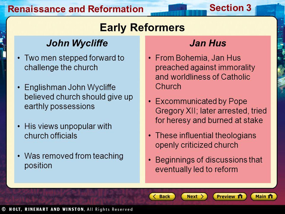 Early Reformers John Wycliffe Jan Hus