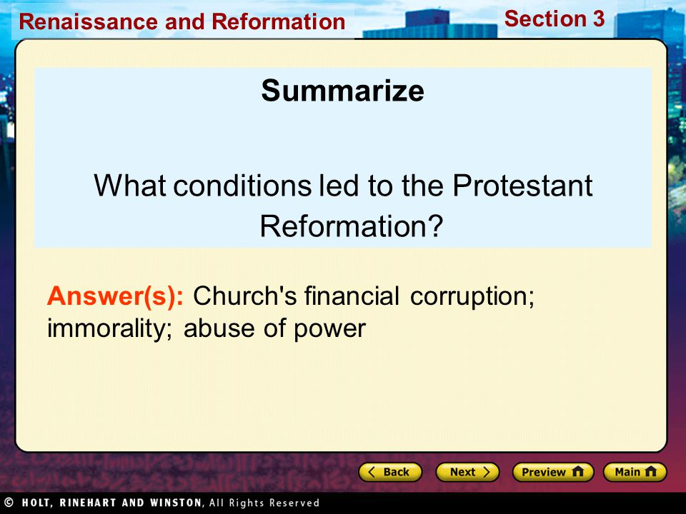 What conditions led to the Protestant Reformation