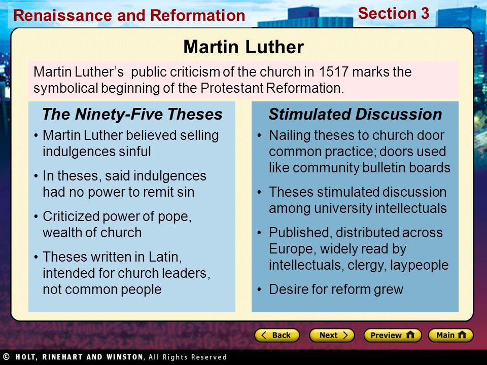 The Ninety-Five Theses Stimulated Discussion