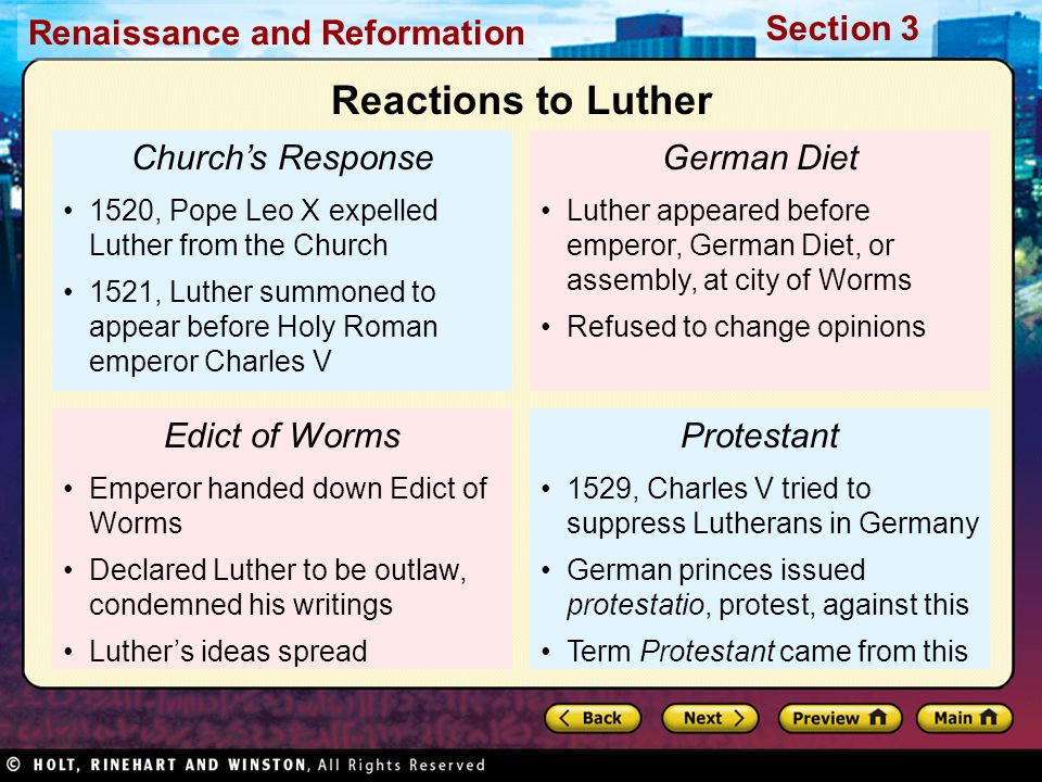 Reactions to Luther Church's Response German Diet Edict of Worms