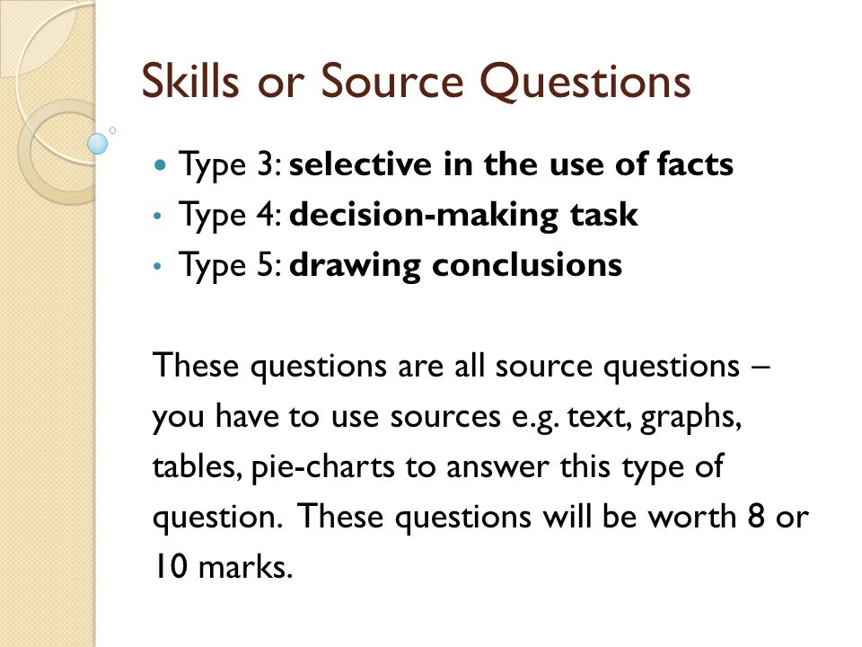 Skills or Source Questions