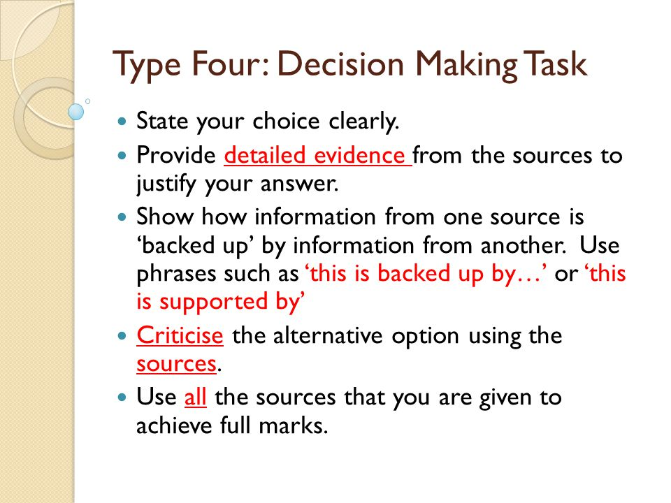 Type Four: Decision Making Task