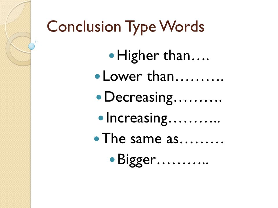Conclusion Type Words Higher than…. Lower than………. Decreasing……….