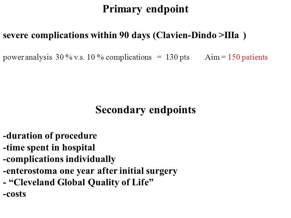 Primary endpoint Secondary endpoints