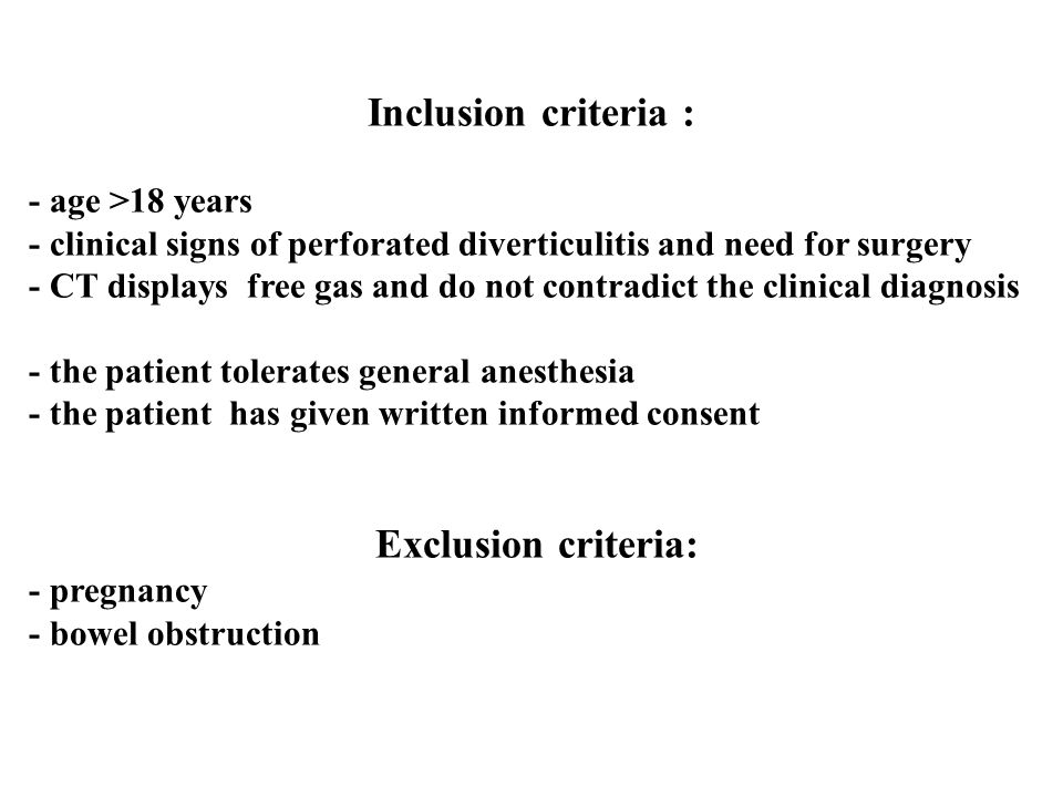 Inclusion criteria : Exclusion criteria: