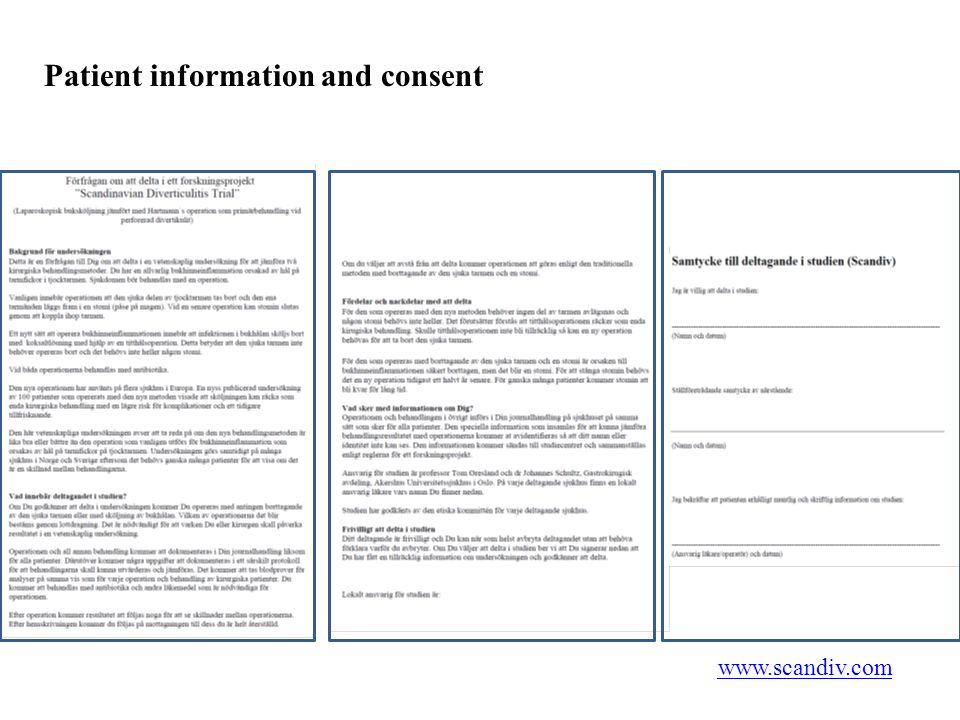 Patient information and consent