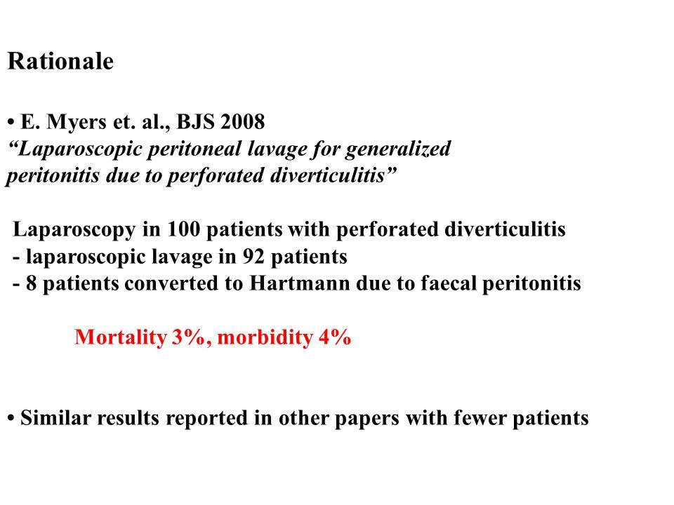 Rationale • E. Myers et. al., BJS 2008