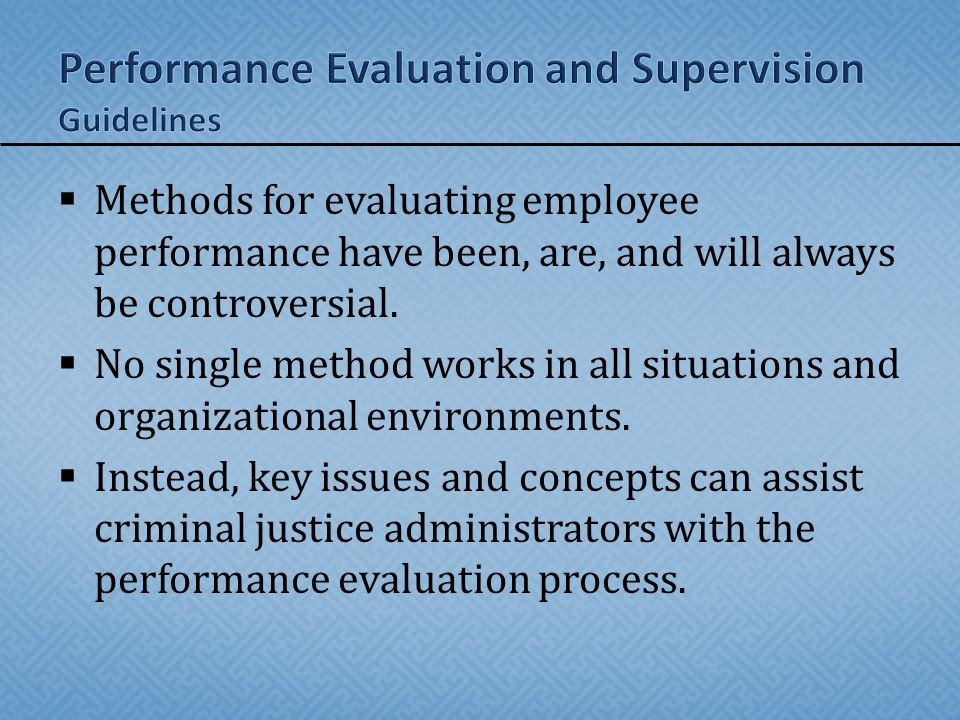 Performance Evaluation and Supervision Guidelines