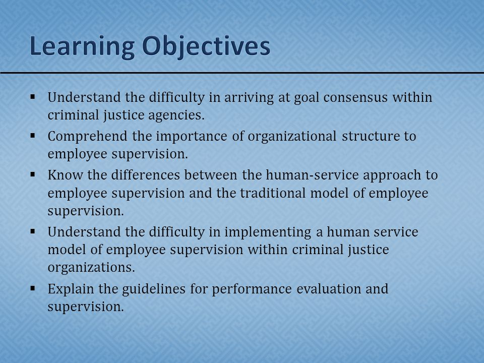 Learning Objectives Understand the difficulty in arriving at goal consensus within criminal justice agencies.