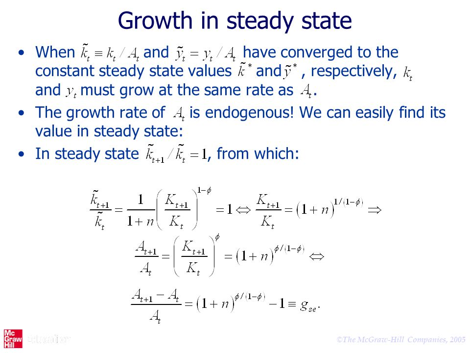Growth in steady state