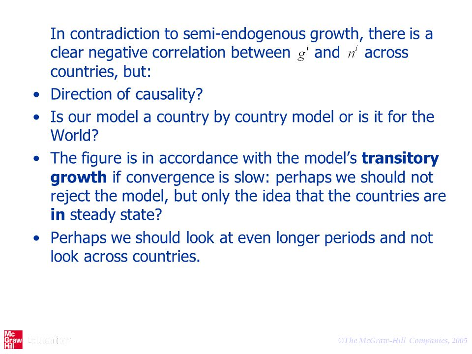 In contradiction to semi-endogenous growth, there is a clear negative correlation between and across countries, but: