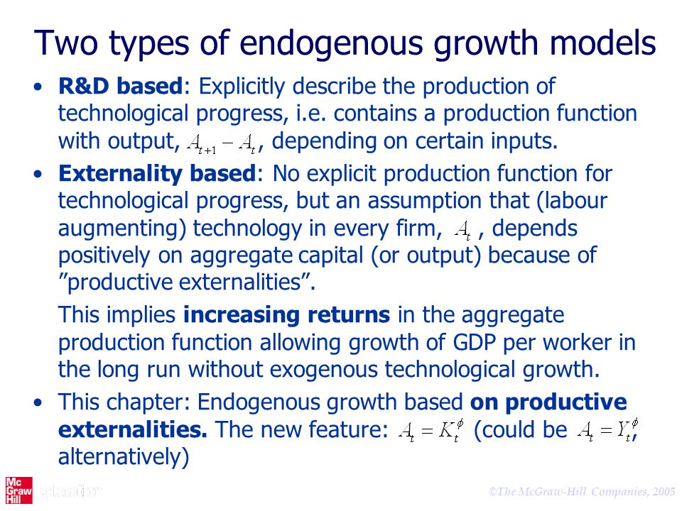 Two types of endogenous growth models