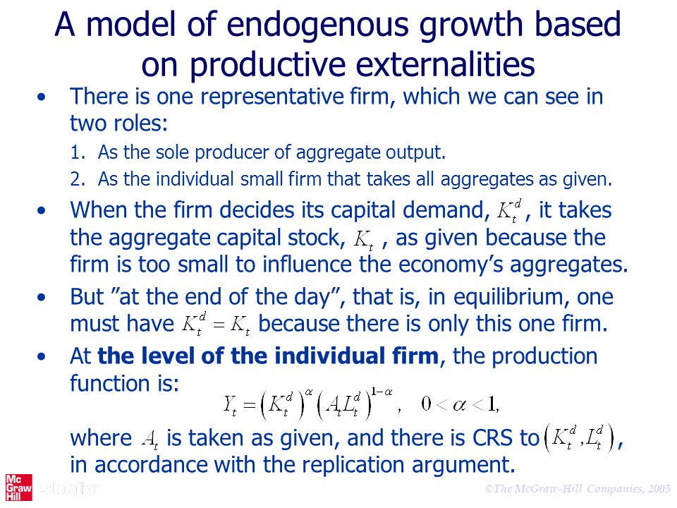 A model of endogenous growth based on productive externalities