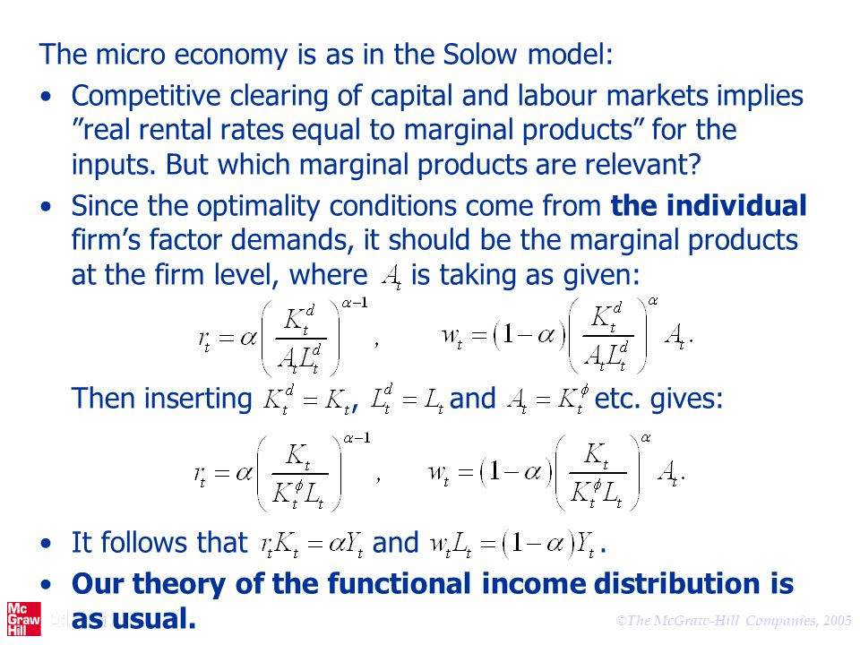 The micro economy is as in the Solow model: