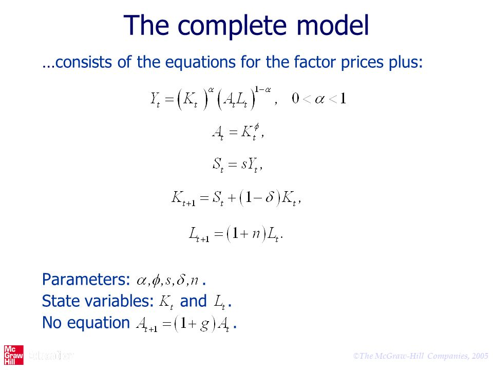 The complete model …consists of the equations for the factor prices plus: Parameters: .