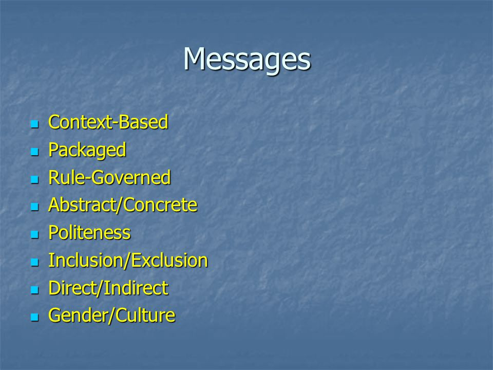 Messages Context-Based Packaged Rule-Governed Abstract/Concrete