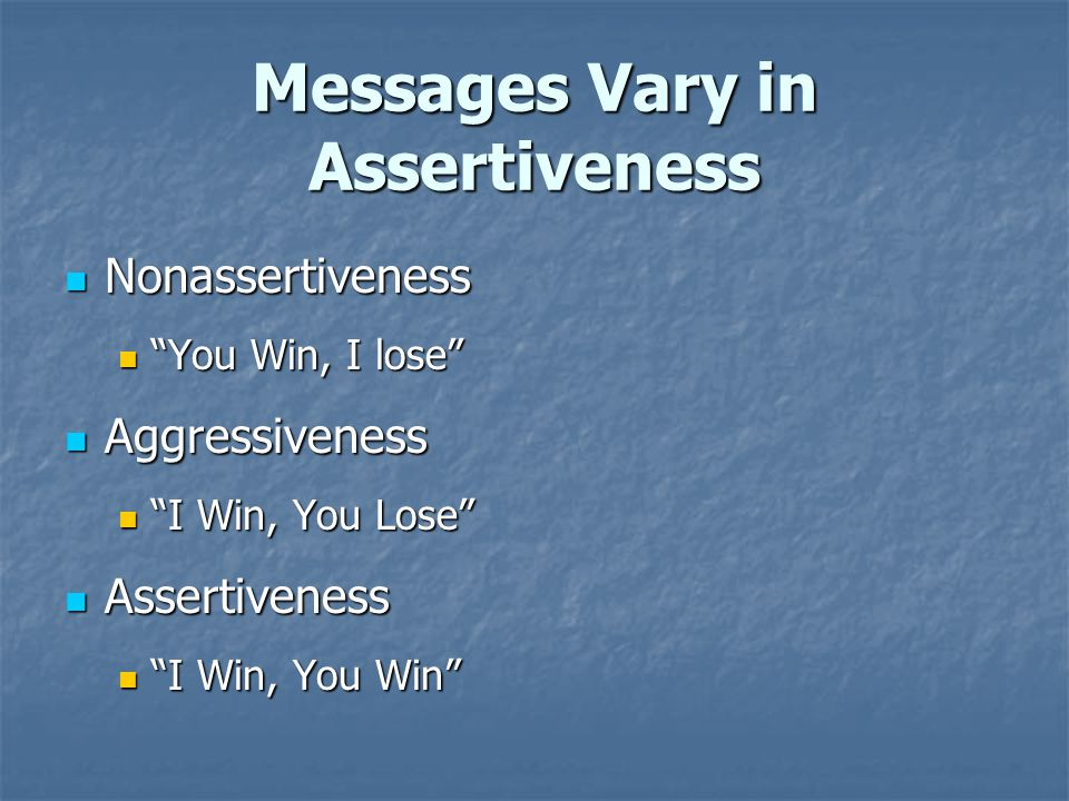 Messages Vary in Assertiveness