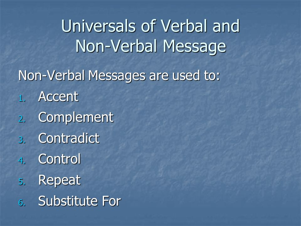 Universals of Verbal and Non-Verbal Message