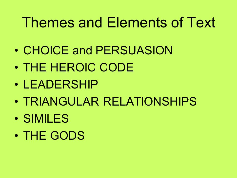 Themes and Elements of Text