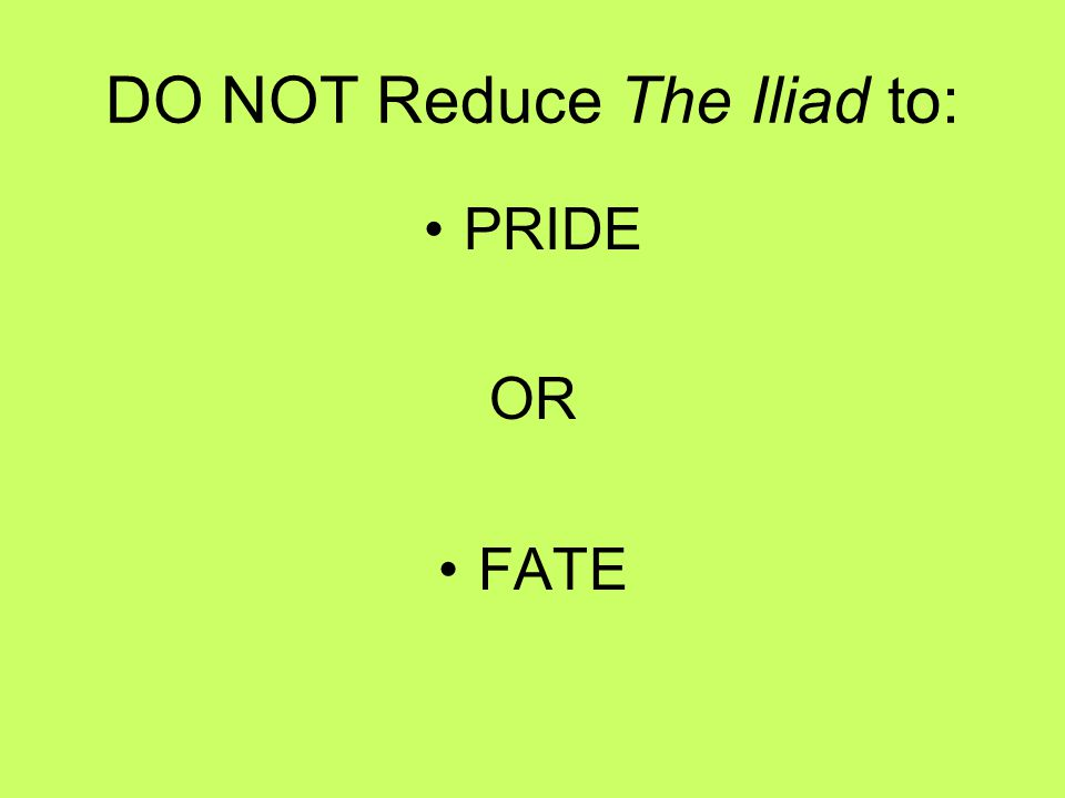 DO NOT Reduce The Iliad to: