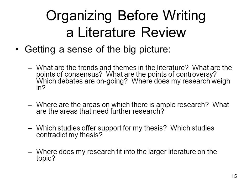 Organizing Before Writing a Literature Review