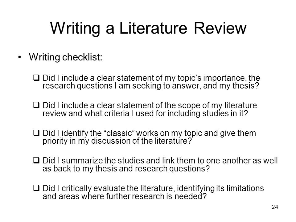 Help me write a thesis literature review