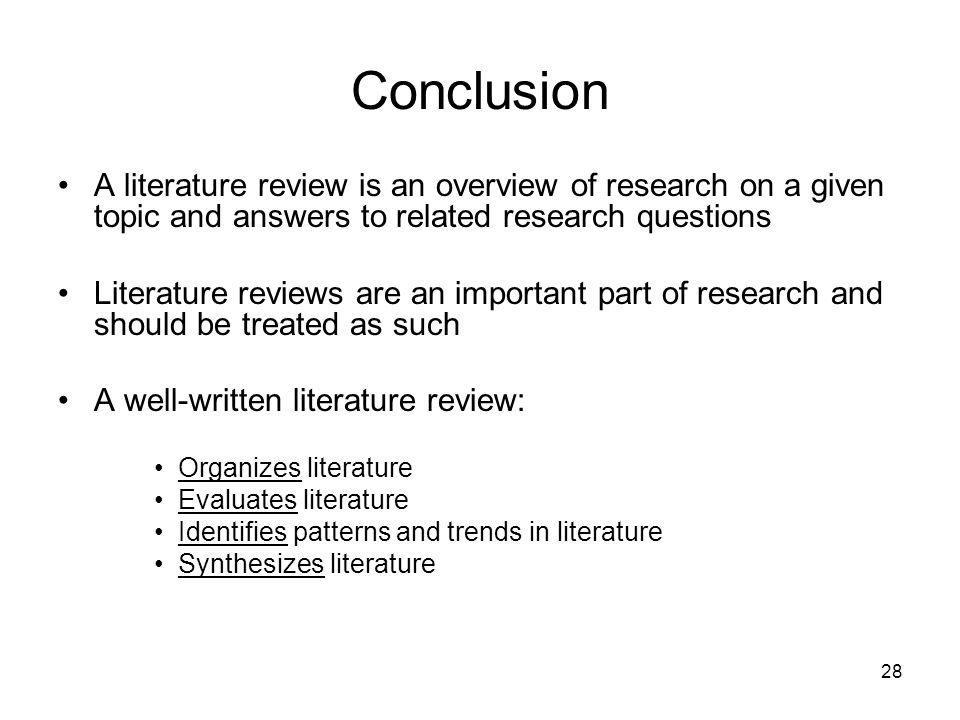 how to write a conclusion for a literature review Here, find out why the literature review structure is so important and why for many  people, one of the hardest parts of writing a paper is the conclusion check.