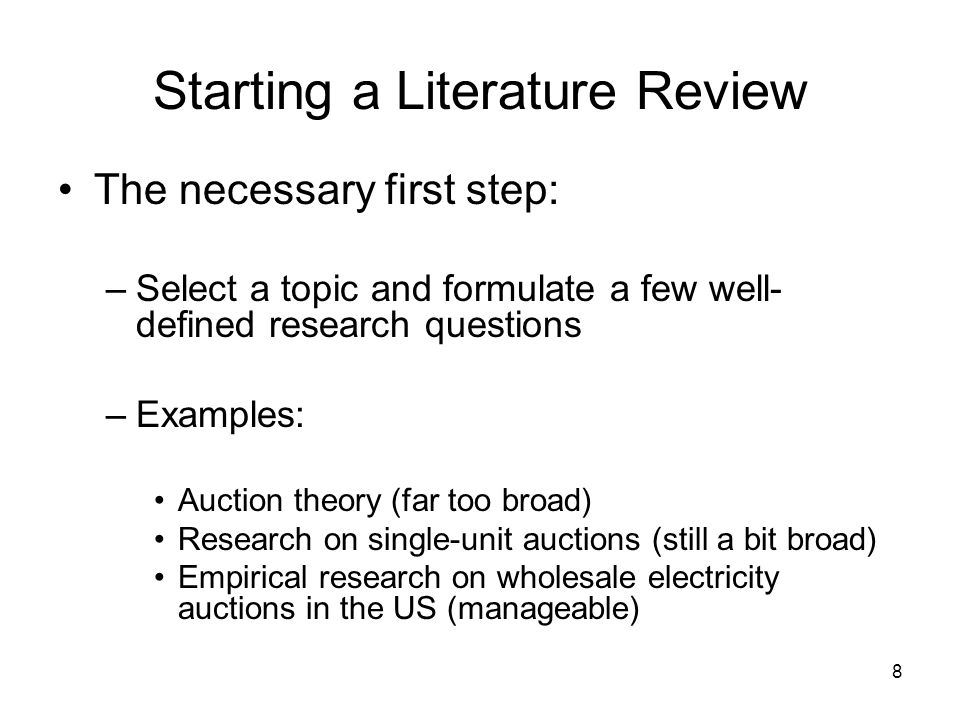 Starting a Literature Review