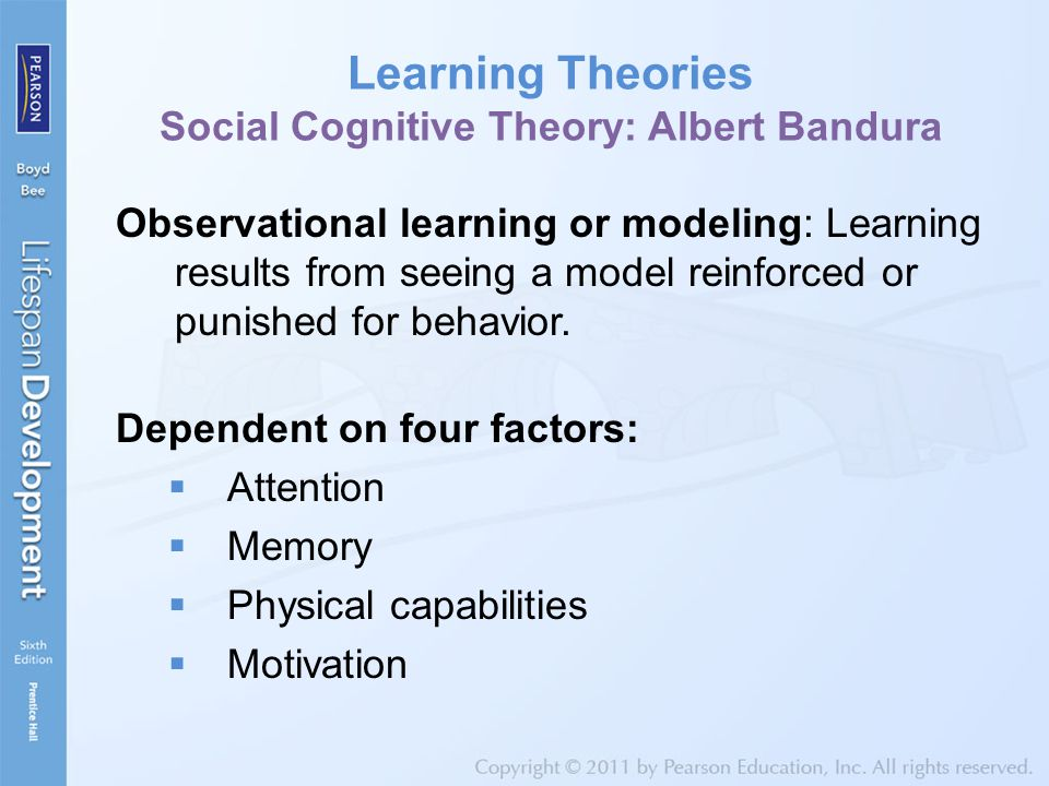 Learning Theories Social Cognitive Theory: Albert Bandura