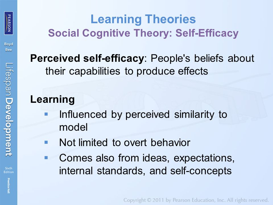 Learning Theories Social Cognitive Theory: Self-Efficacy