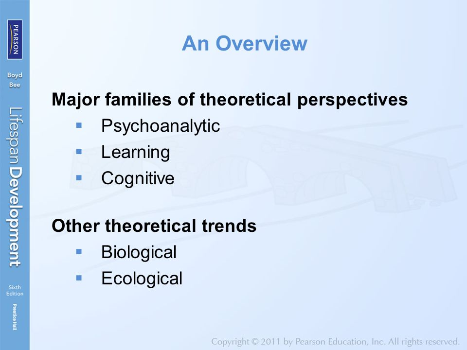 An Overview Major families of theoretical perspectives Psychoanalytic