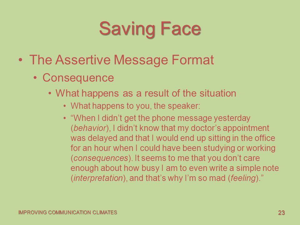 Saving Face The Assertive Message Format Consequence