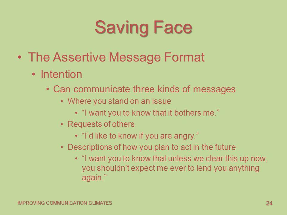 Saving Face The Assertive Message Format Intention
