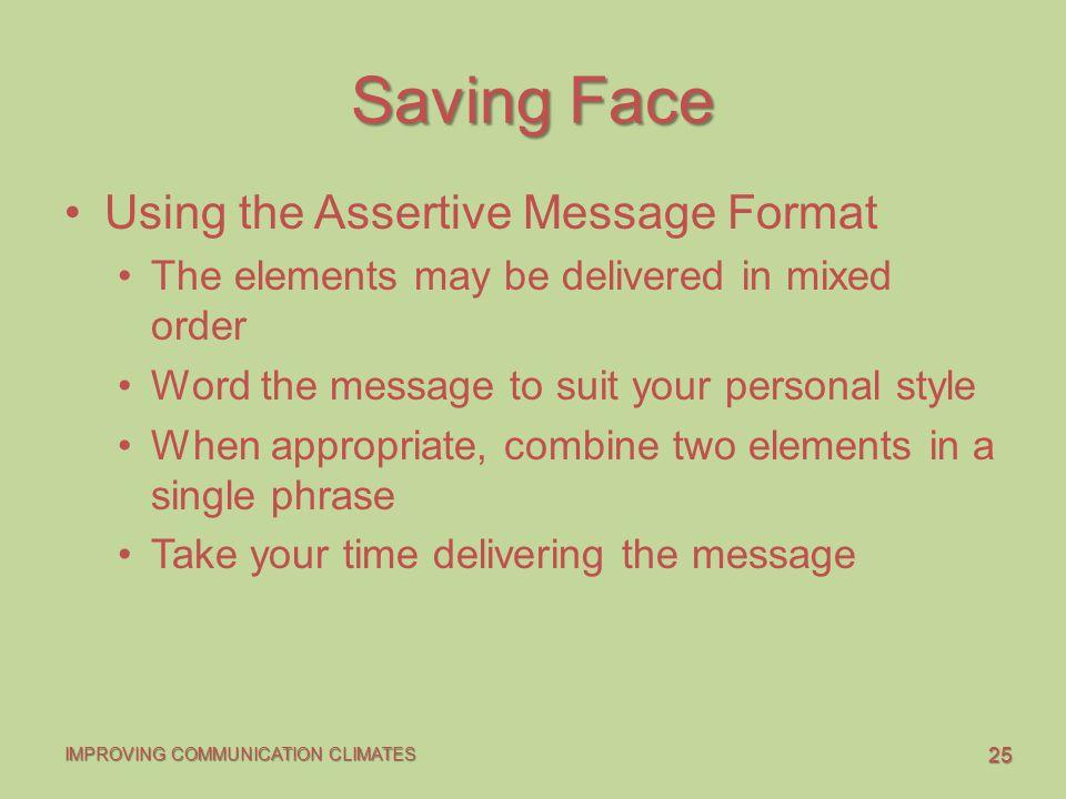 Saving Face Using the Assertive Message Format