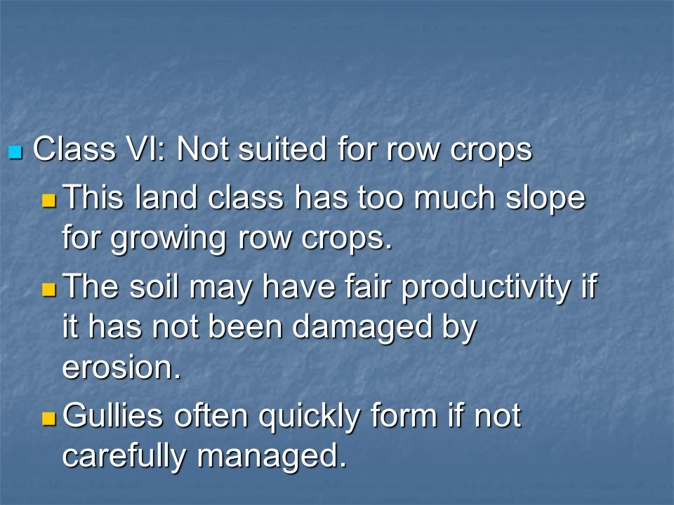 Class VI: Not suited for row crops