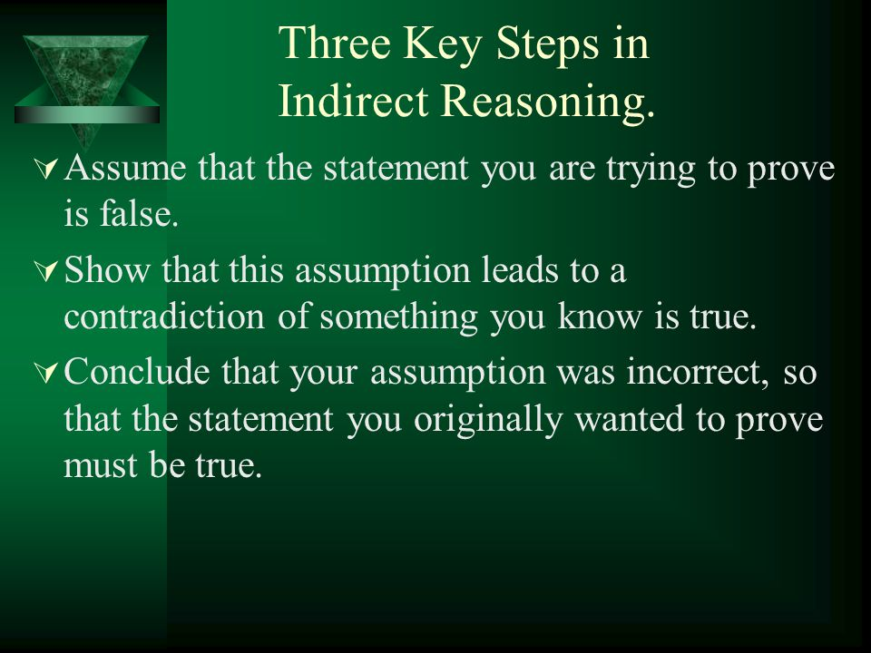 Three Key Steps in Indirect Reasoning.