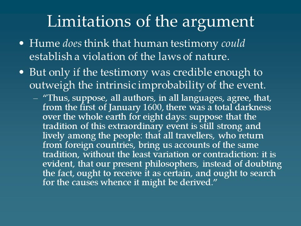 Limitations of the argument