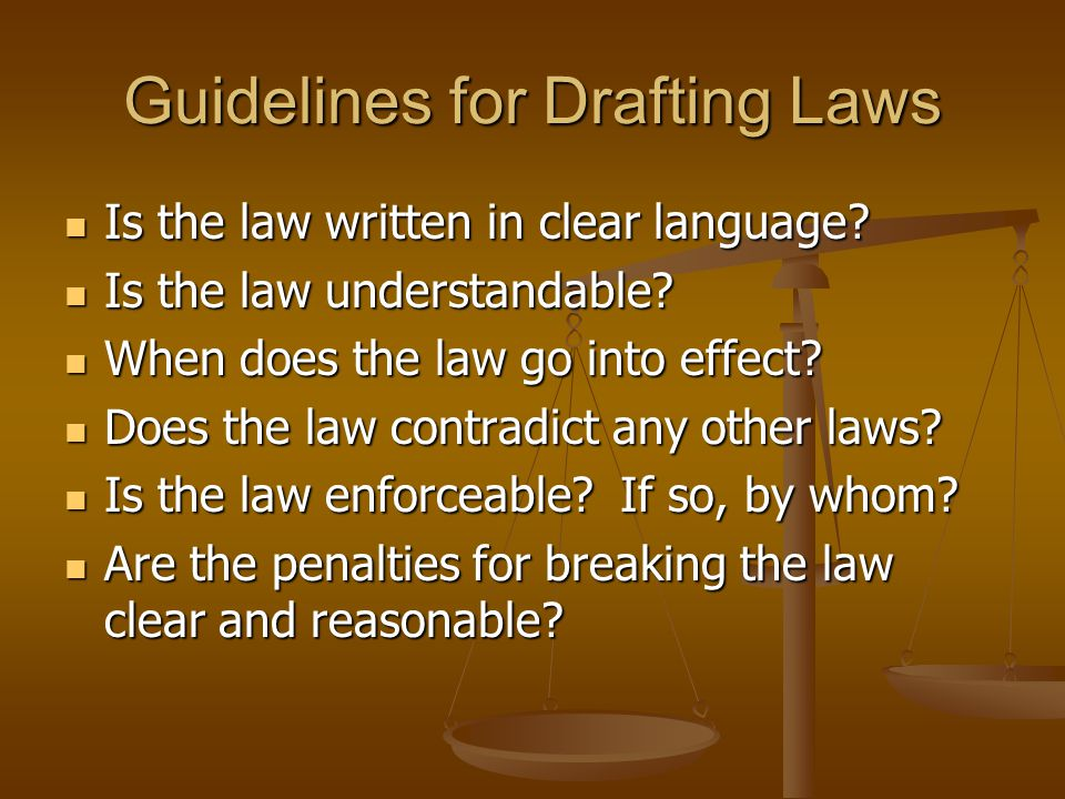 Guidelines for Drafting Laws