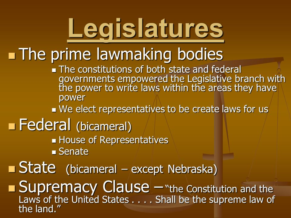 Legislatures The prime lawmaking bodies Federal (bicameral)