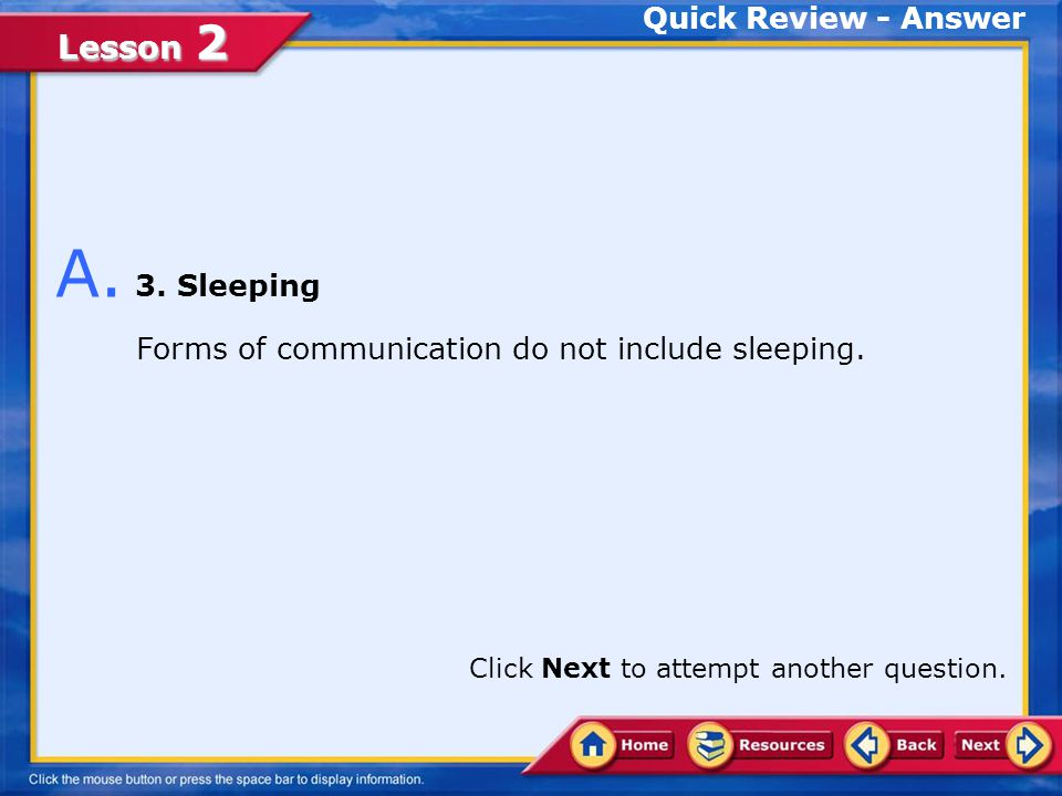 A. 3. Sleeping Quick Review - Answer