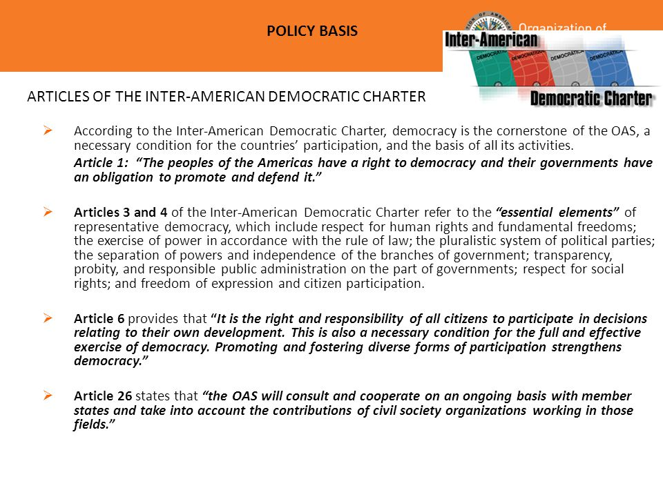 ARTICLES OF THE INTER-AMERICAN DEMOCRATIC CHARTER