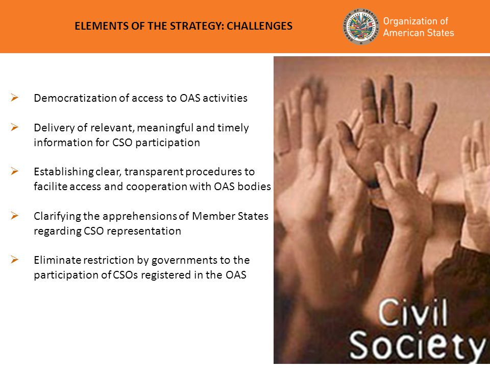 ELEMENTS OF THE STRATEGY: CHALLENGES
