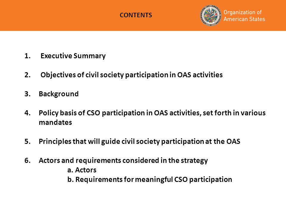 Objectives of civil society participation in OAS activities Background