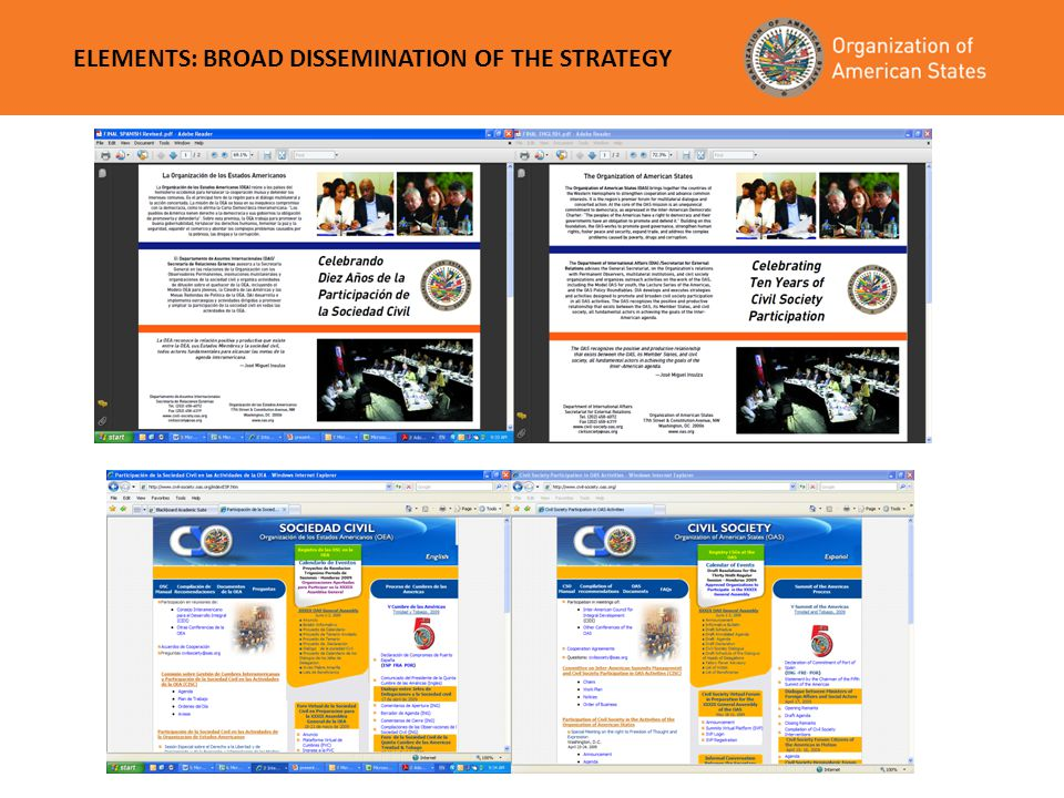 ELEMENTS: BROAD DISSEMINATION OF THE STRATEGY