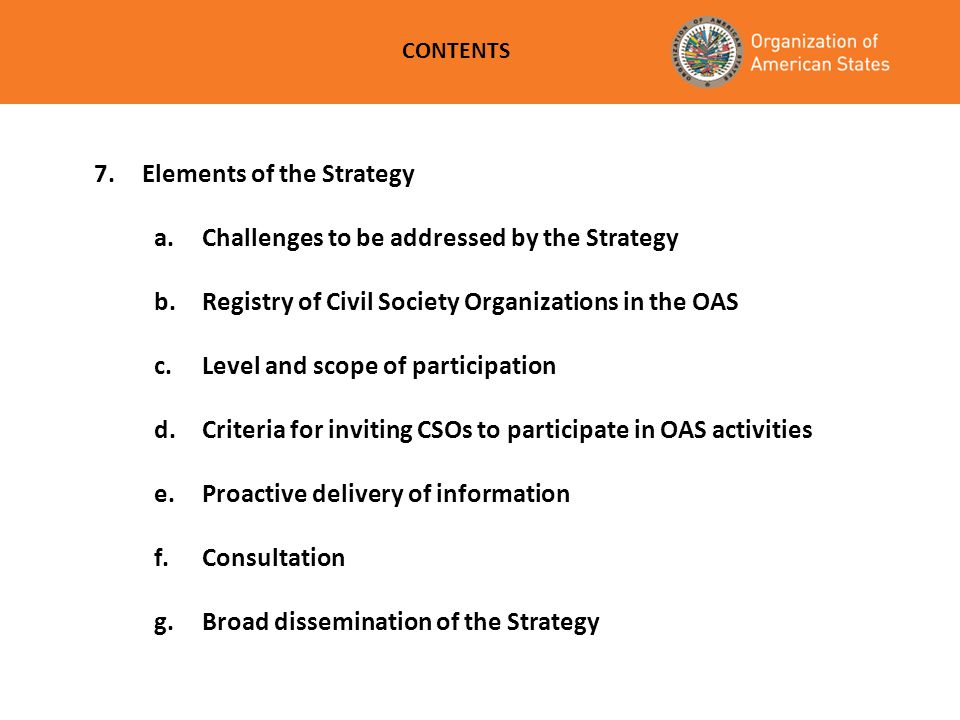 Elements of the Strategy a. Challenges to be addressed by the Strategy