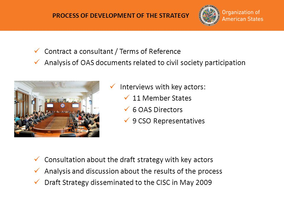 PROCESS OF DEVELOPMENT OF THE STRATEGY