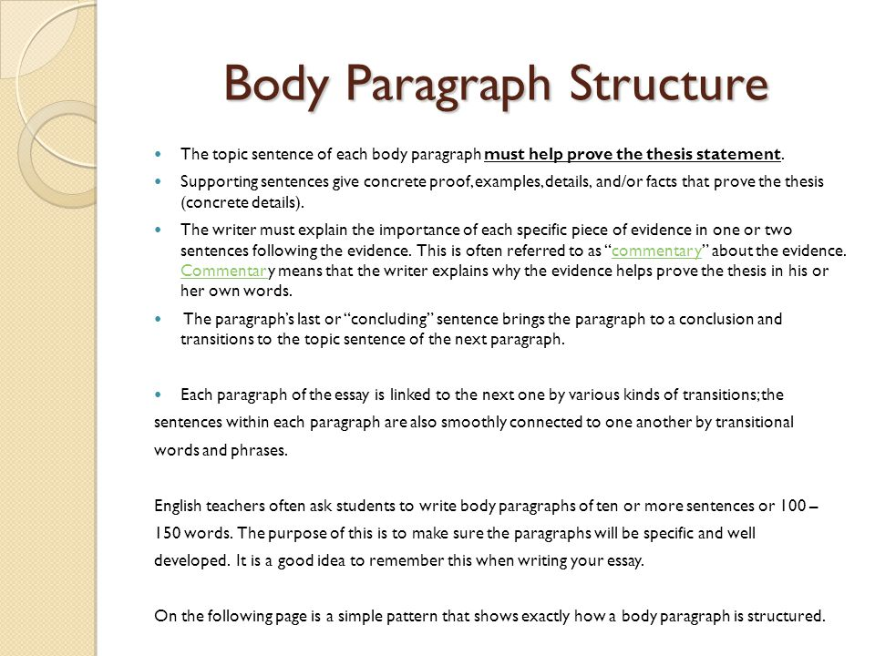 How to do an essay body paragraph
