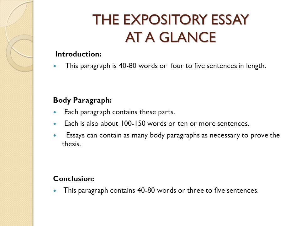 three main parts expository essay How to structure analytical/expository writing from cb olson (2003) the conclusion reminds the reader of the essay's main point by summarizing, coming full circle part 3 of main body--final phase.