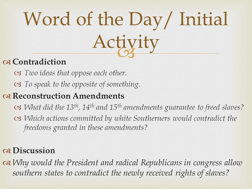 Word of the Day/ Initial Activity