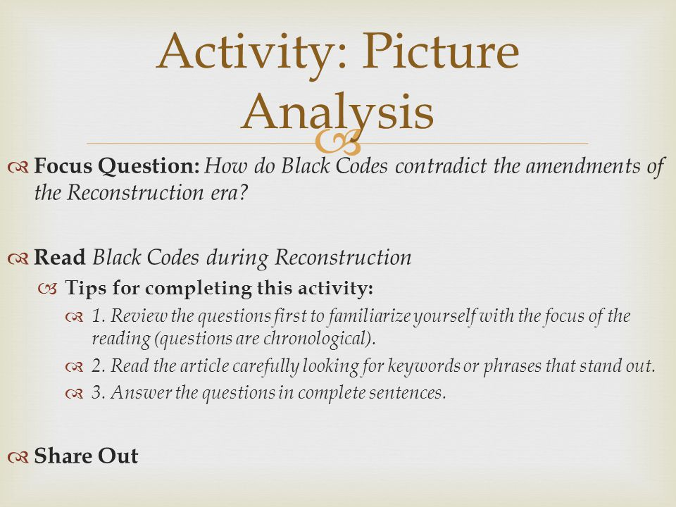 Activity: Picture Analysis